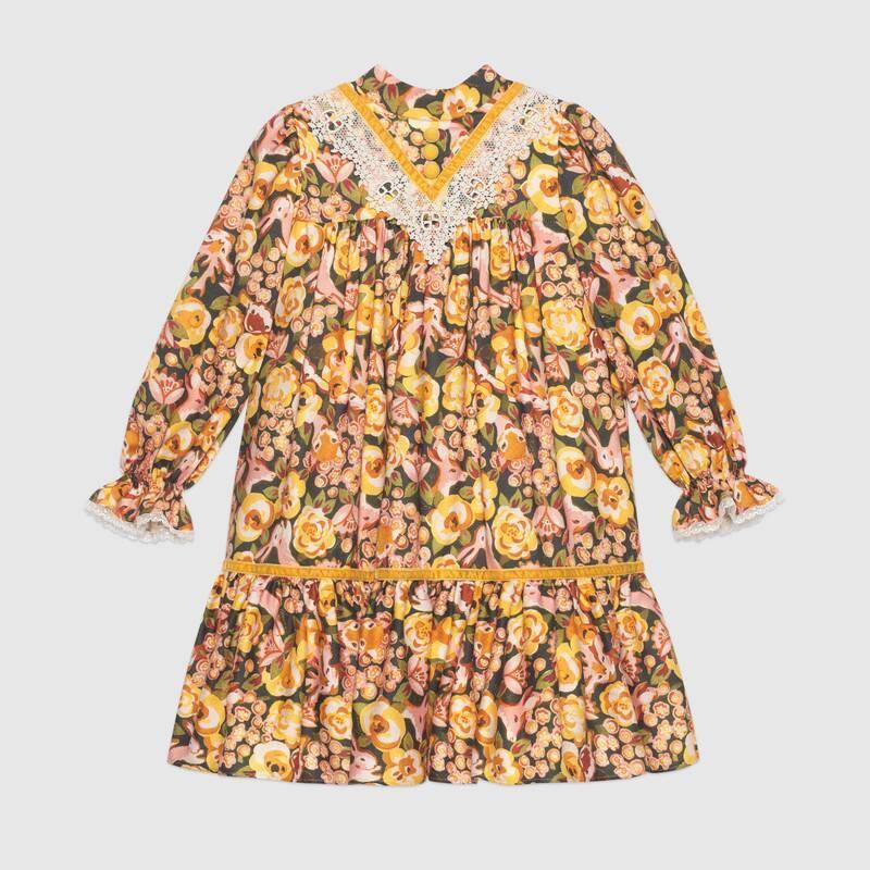 Children's roses and rabbit viscose dress (622855XWALV7245)