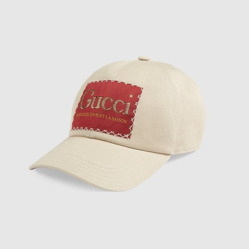 Cotton baseball hat with Gucci label (6270434HK021400)