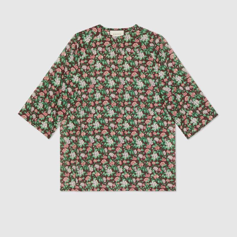 Floral print cotton kaftan shirt (614950ZACJI5275)