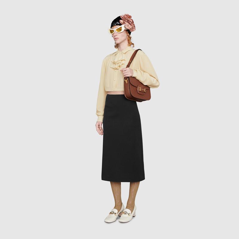 Gucci 1955 Horsebit ostrich shoulder bag (602204EY00G2535)