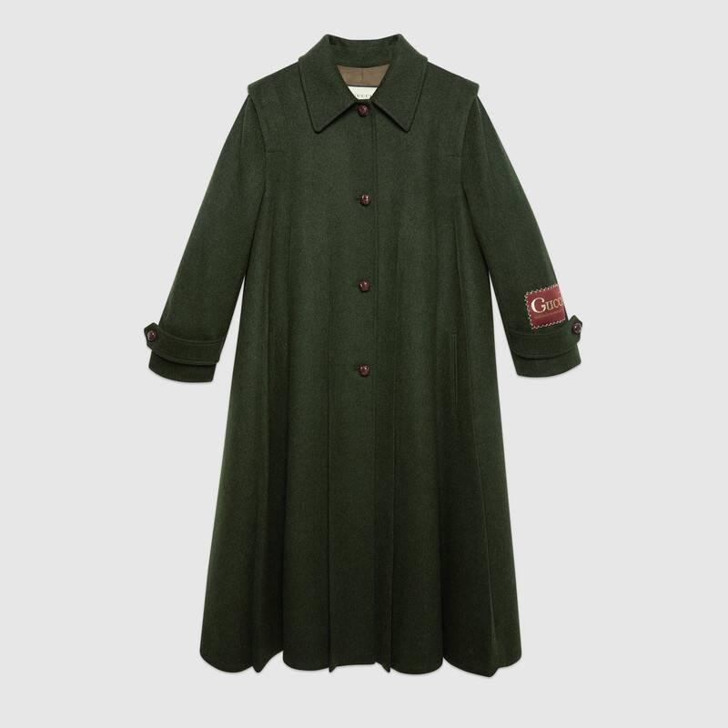 Wool alpaca coat with Gucci label (619357ZAEJU3217)