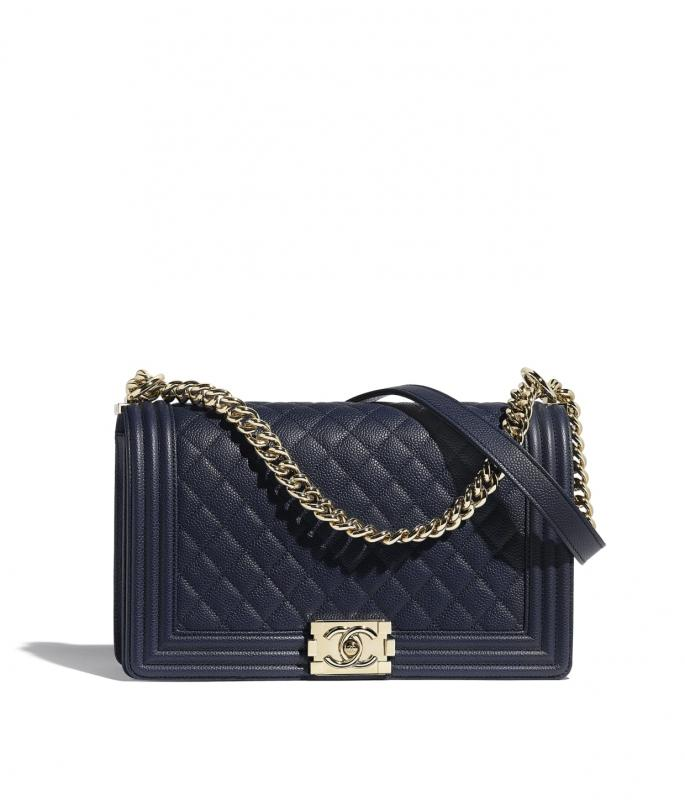 Grained Calfskin & Gold-Tone Metal Navy Blue Large BOY CHANEL Handbag (A92193B01694N5336)