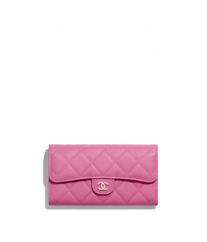Grained Calfskin & Gold-Tone Metal Pink Classic Flap Wallet (AP1000Y333525B648)