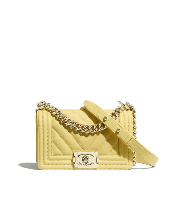 Grained Calfskin & Gold-Tone Metal Yellow Small BOY CHANEL Handbag (A67085B00315N6508)
