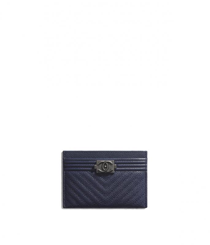 Grained Calfskin & Ruthenium-Finish Metal Navy Blue BOY CHANEL Card Holder (A84431B01696N5336)