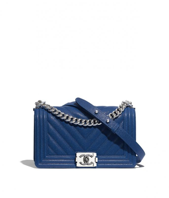 Grained Calfskin & Silver-Tone Metal Dark Blue BOY CHANEL Handbag (A67086B02264N5947)