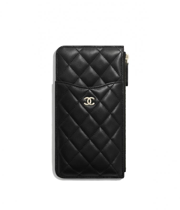 Lambskin & Gold-Tone Metal Black Classic Pouch for iPhone (AP0225Y04059C3906)
