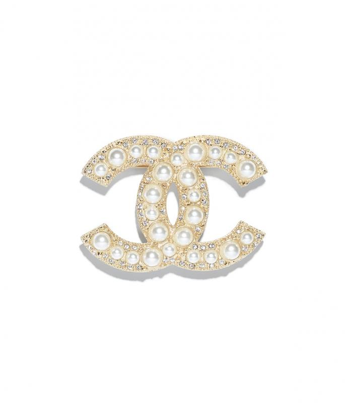 Metal, Strass & Resin Gold & Pearly White Brooch (A64762Y09530Z2048)