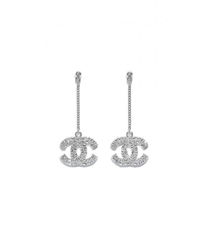 Metal & Strass Silver & Crystal Earrings (A63084Y02003Z3502)