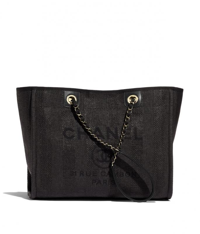 Mixed Fibers, Calfskin & Gold-Tone Metal Black Large Shopping Bag (A67001B0233694305)