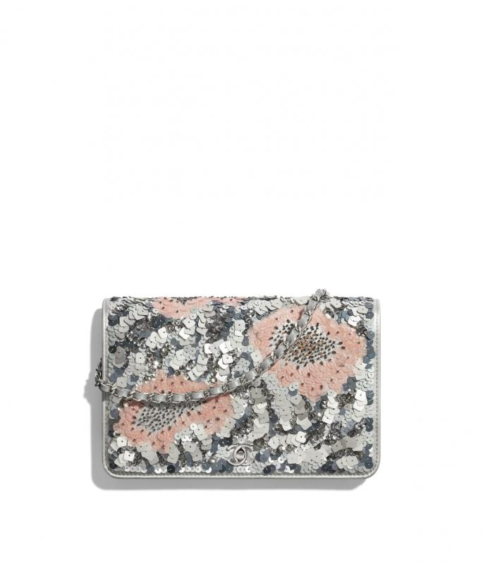 Sequins, Glass Pearls & Silver-Tone Metal Gray, Silver & Pink Wallet on Chain (AP0960B02924N5451)