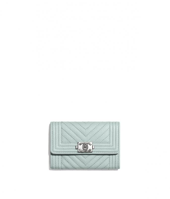 Shiny Grained Calfskin & Silver-Tone Metal Light Blue BOY CHANEL Flap Card Holder (A80603B02274N5946)