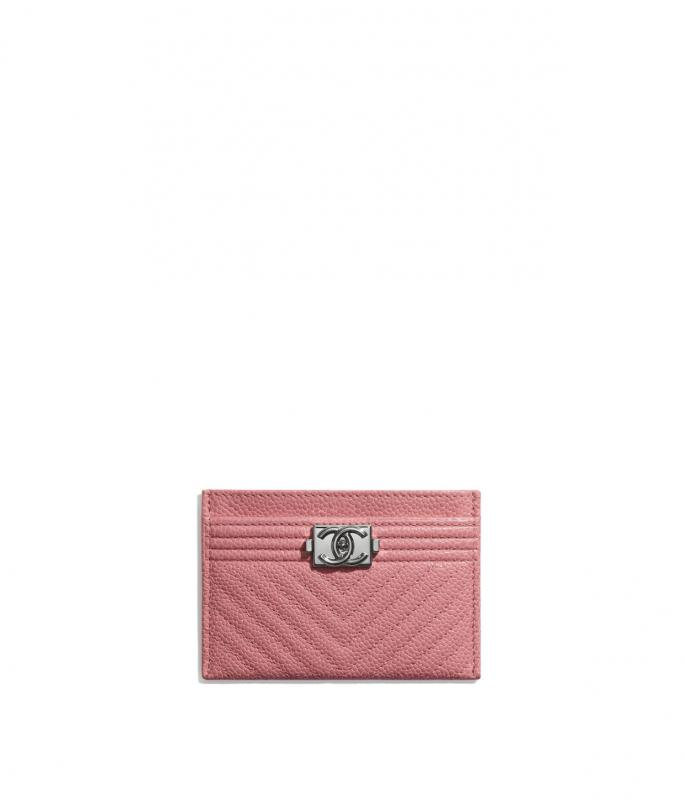 Shiny Grained Calfskin & Silver-Tone Metal Pink BOY CHANEL Card Holder (A84431B02274N5945)