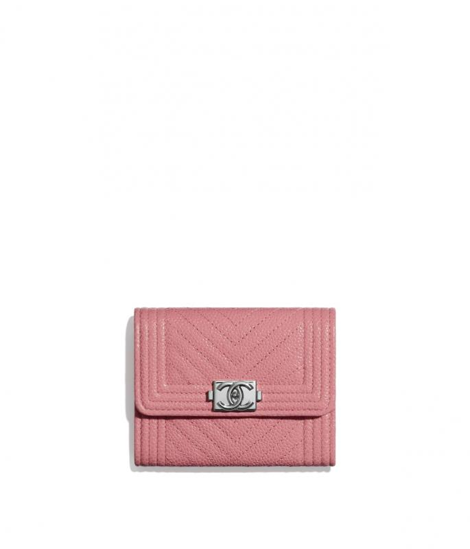 Shiny Grained Calfskin & Silver-Tone Metal Pink BOY CHANEL Flap Coin Purse (A84311B02274N5945)