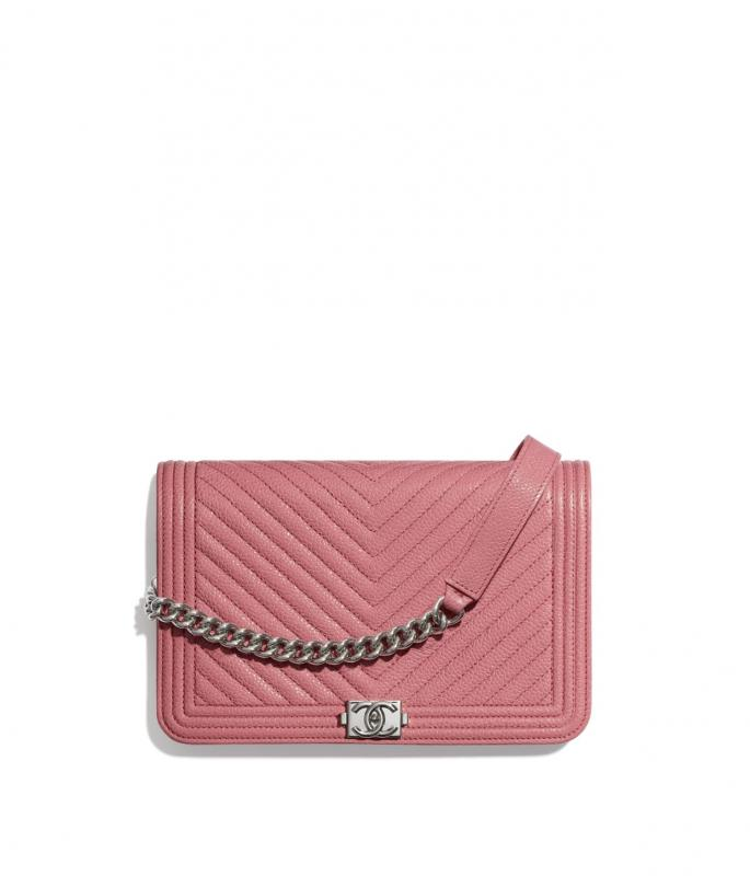 Shiny Grained Calfskin & Silver-Tone Metal Pink BOY CHANEL Wallet on Chain (AP1117B02274N5945)