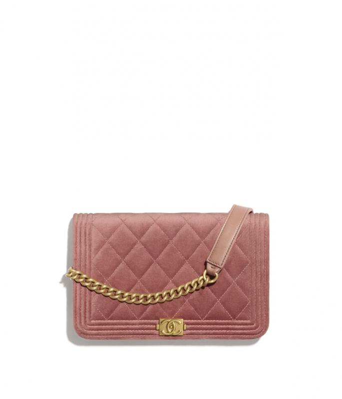 Velvet & Gold-Tone Metal Pink BOY CHANEL Wallet on Chain (AP1117B02302N5967)
