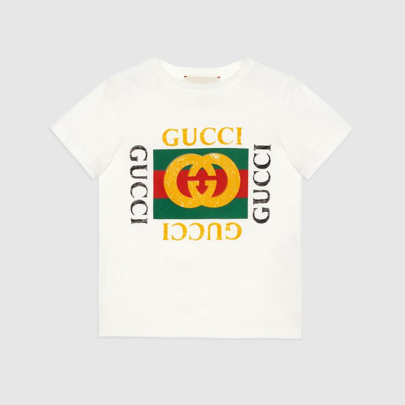 Children's cotton T-shirt with Gucci logo (475740X3G179112)