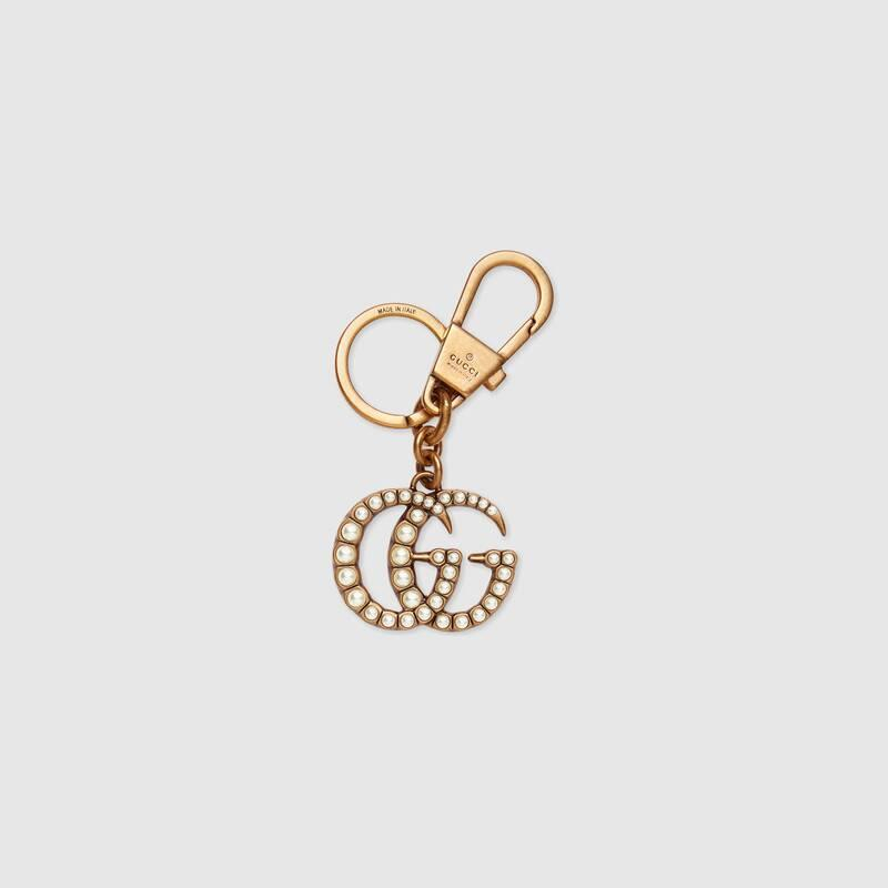 Double G with pearls keychain (476428JCFAT8817)