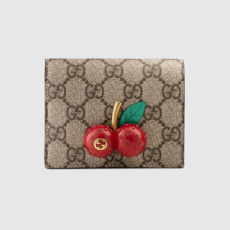 GG Supreme card case wallet with cherries (476050K9GXT8694)