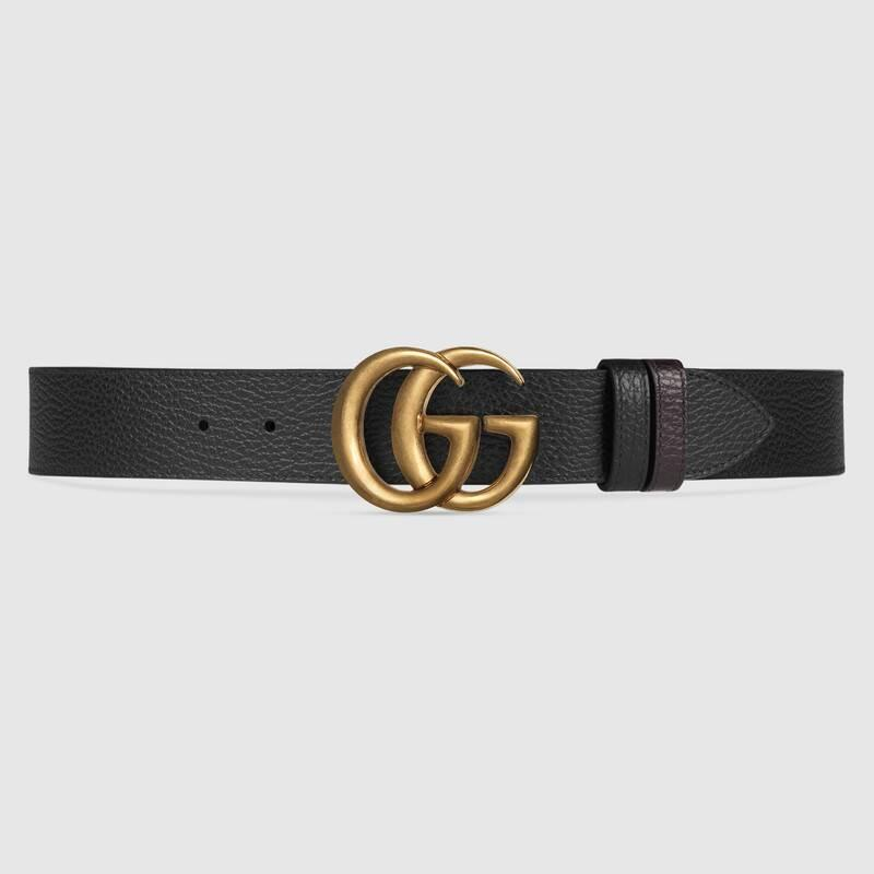 Reversible leather belt with Double G buckle (474350CAO2T1062)