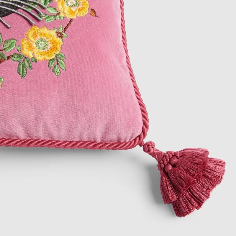 Velvet cushion with cat embroidery (482722ZAF065675)