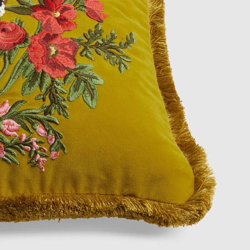 Velvet cushion with leopard embroidery (482735ZAF143562)