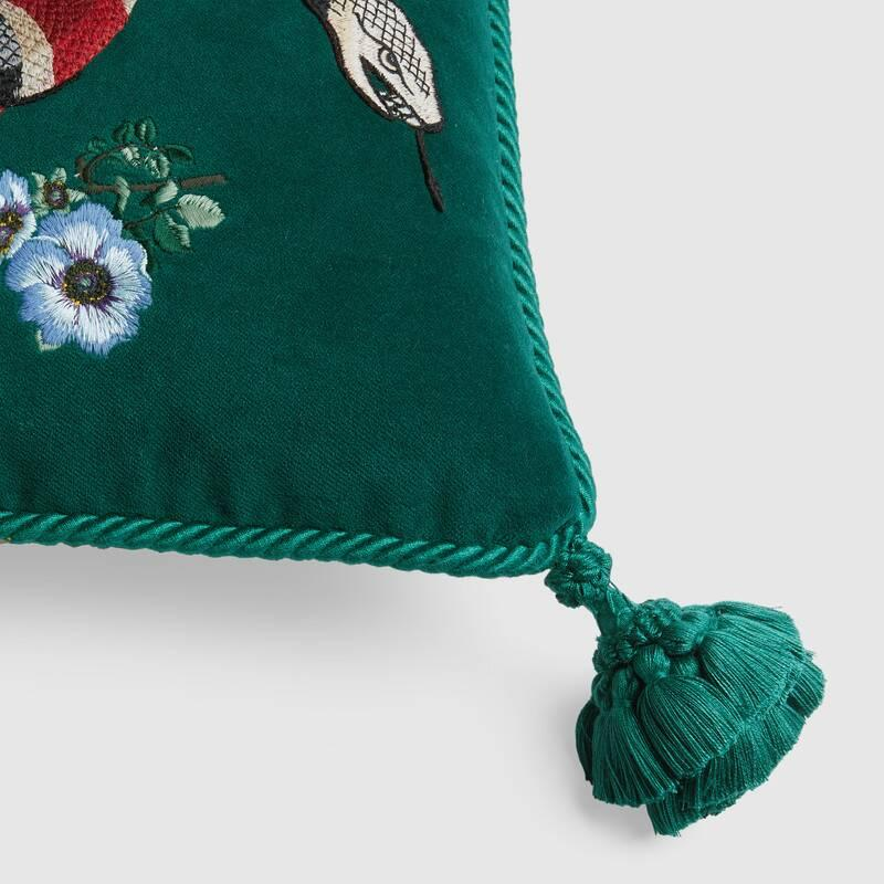 Velvet cushion with snake embroidery (482726ZAF083608)