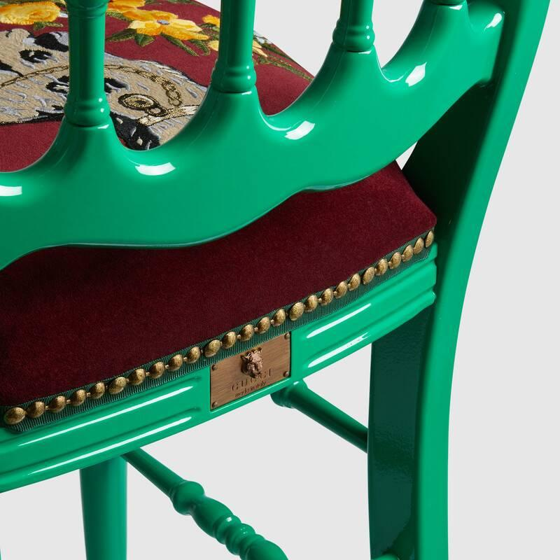 Wood chair with embroidered Spaniel (482812ZAW083202)