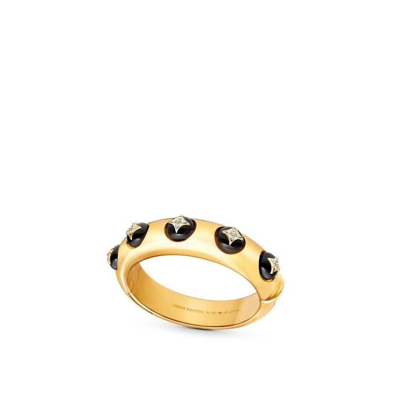 B Blossom Cuff, Yellow Gold, White Gold, Onyx And Diamonds (Q95745)