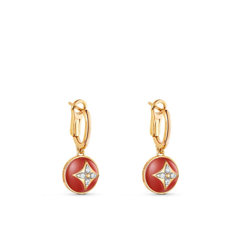 B Blossom Earrings, Yellow Gold, White Gold, Cornelian And Diamonds (Q96899)