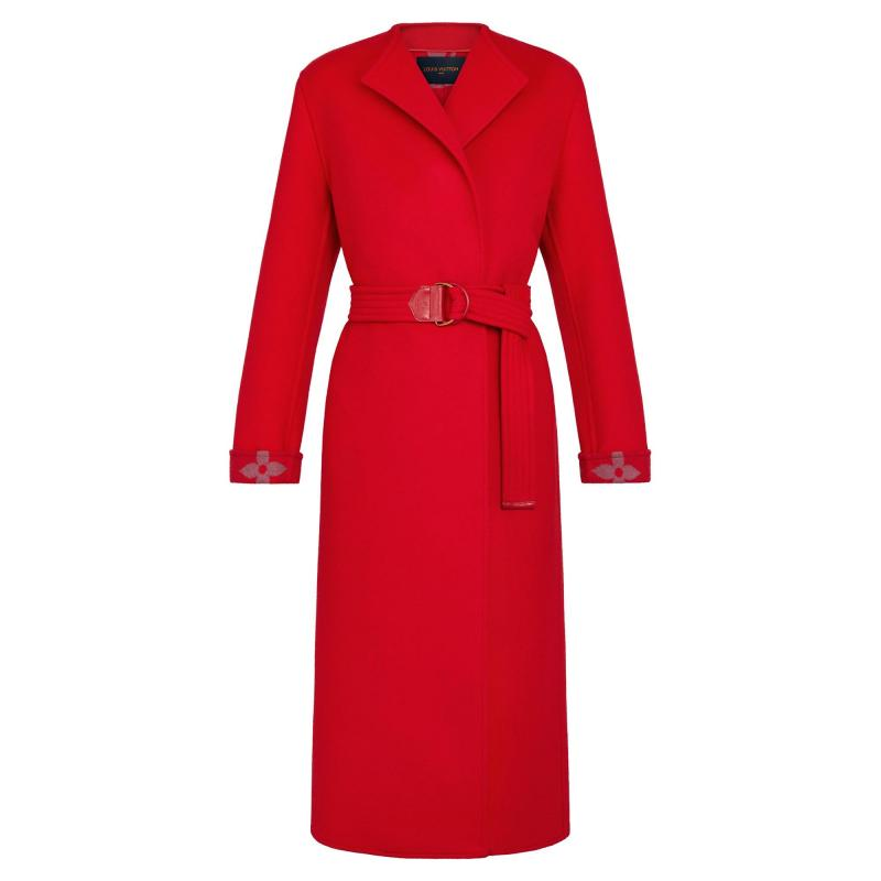 Collarless Red Wool Wrap Coat (1A81WH)
