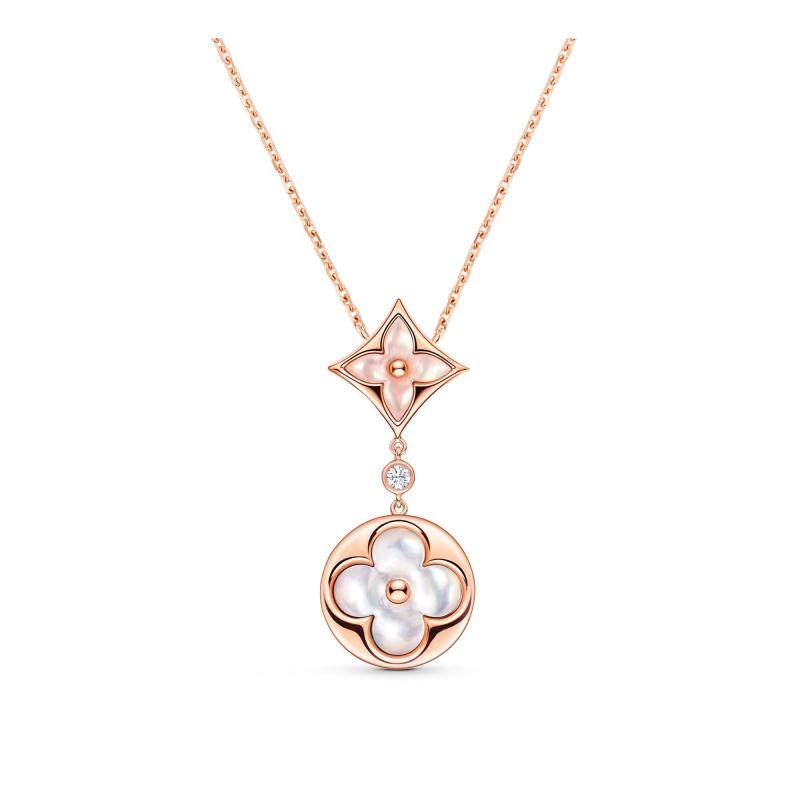 Color Blossom Necklace, Pink Gold, Pink Mother-Of-Pearl, White Mother-Of-Pearl And Diamond (Q94355)