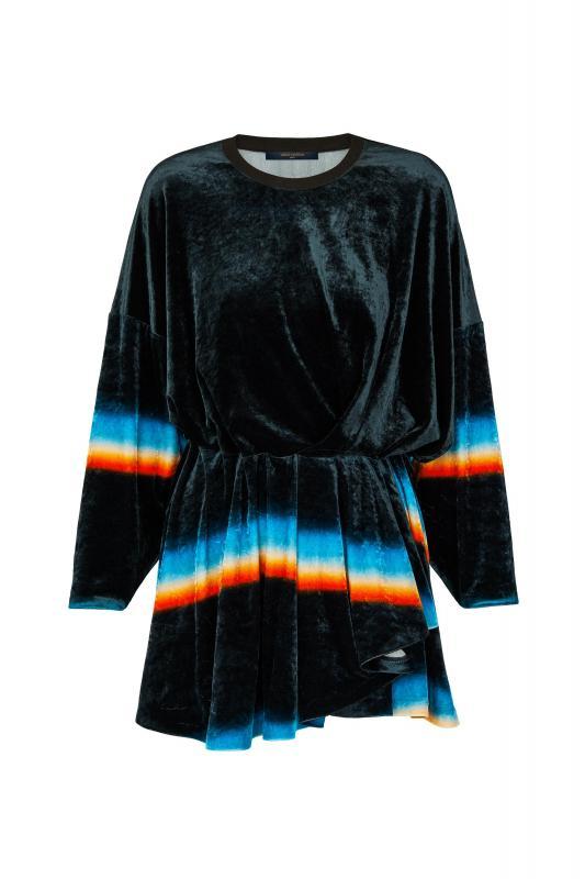 Prism Print Jersey Velour Dress (1A55R7)