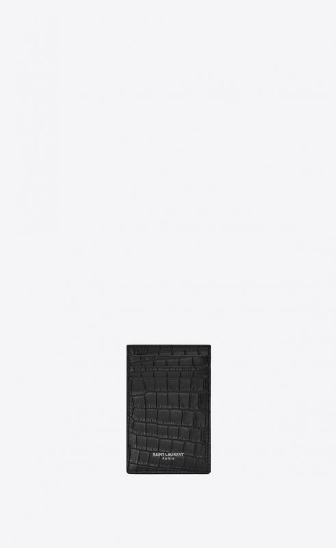 Bill clip with card case in crocodile embossed matte leather (584105DZE0E1000)
