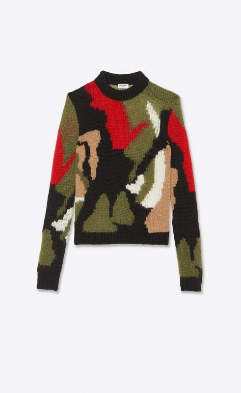 camo-print sweater in wool and mohair intarsia (627313YAQR21052)