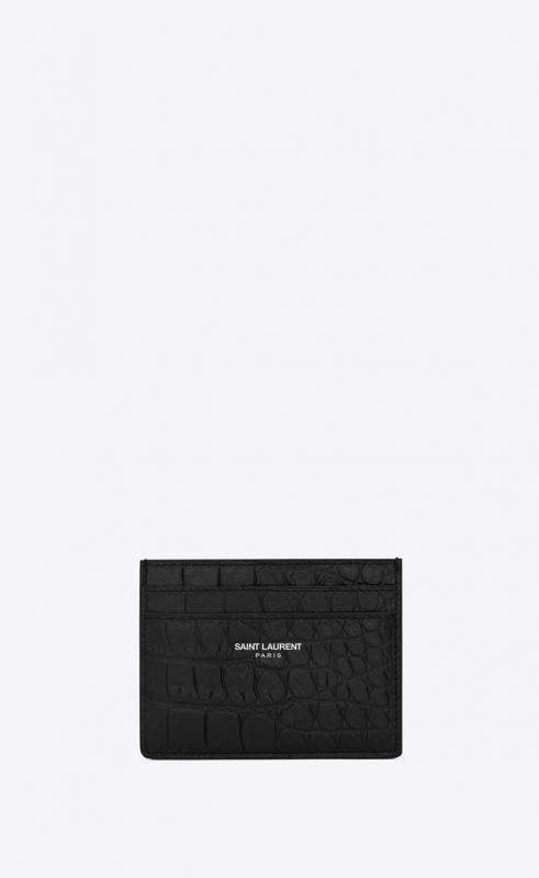 card case in crocodile embossed leather (375946DZE0E1000)