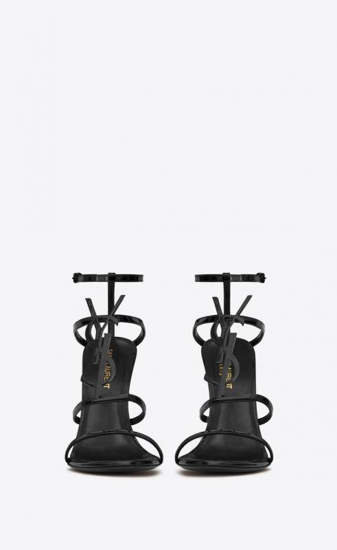 CASSANDRA sandals in patent leather with black logo (6301090NPVV1000)
