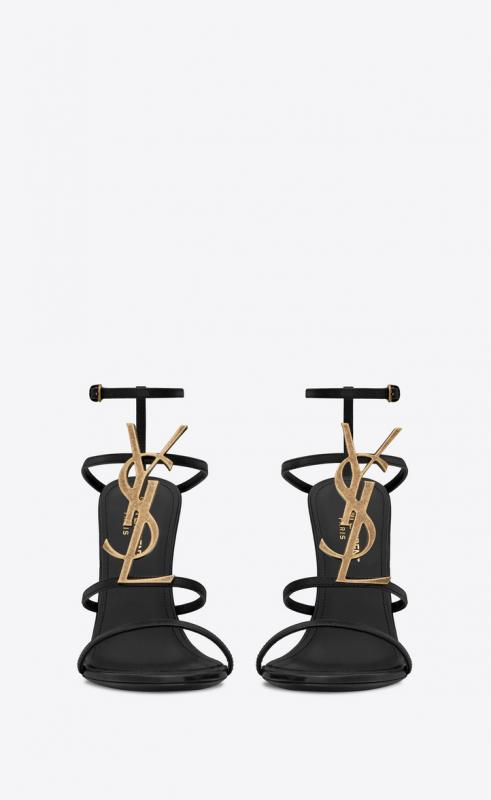 CASSANDRA sandals in smooth leather with gold-tone logo (6301091Q0TT1000)