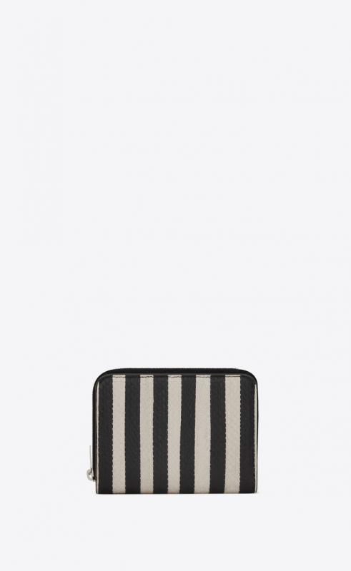 Compact zippered wallet in striped elaphe (562796L0R1N9286)