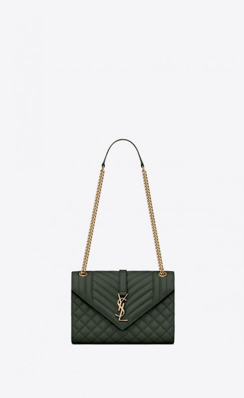 Envelope large bag in quilted grain de poudre embossed leather (487198BOW011000)