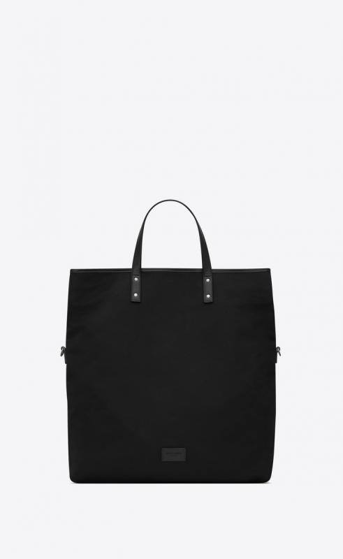 ETHAN foldable shopping bag in canvas and smooth leather (608288KJX5E1000)