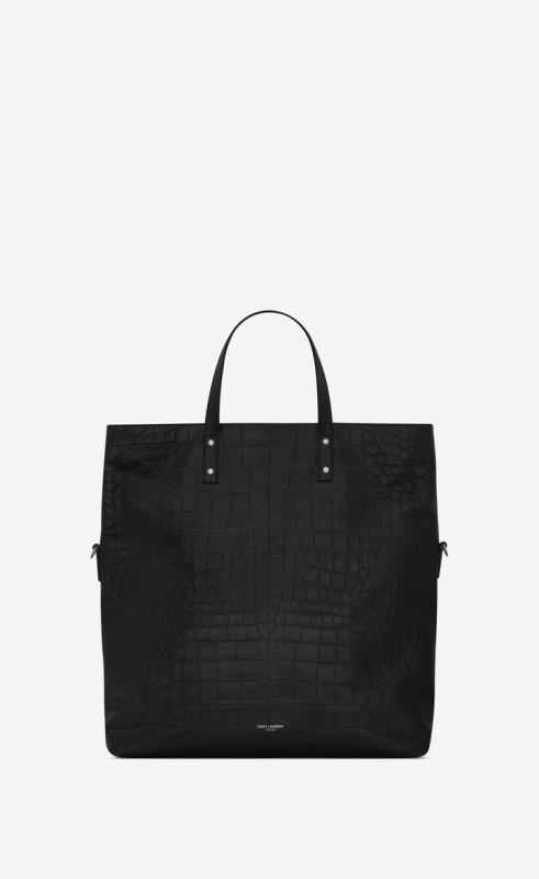 ETHAN foldable shopping bag in crocodile-embossed matte leather (608288DZE0E1000)
