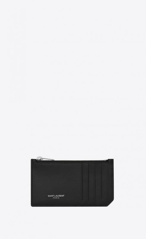 fragment zipped card case in smooth leather (4585890U90N1000)