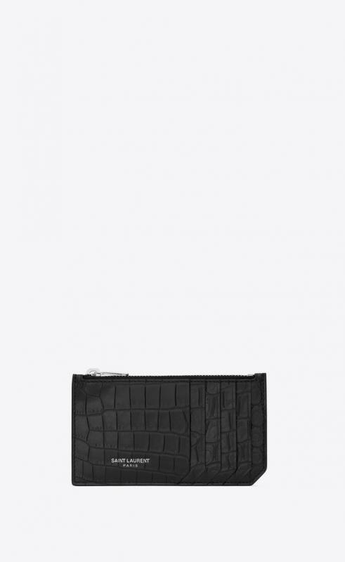 fragments zipped card case in crocodile embossed leather (458583DZE0N1000)