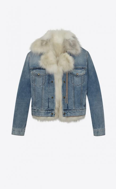 fur lined denim jacket (490593YR8834071)