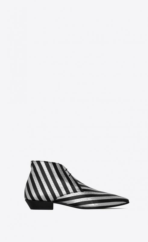 JONAS laced ankle boots in striped lamé ayers and kangaroo (592087EXVN08265)