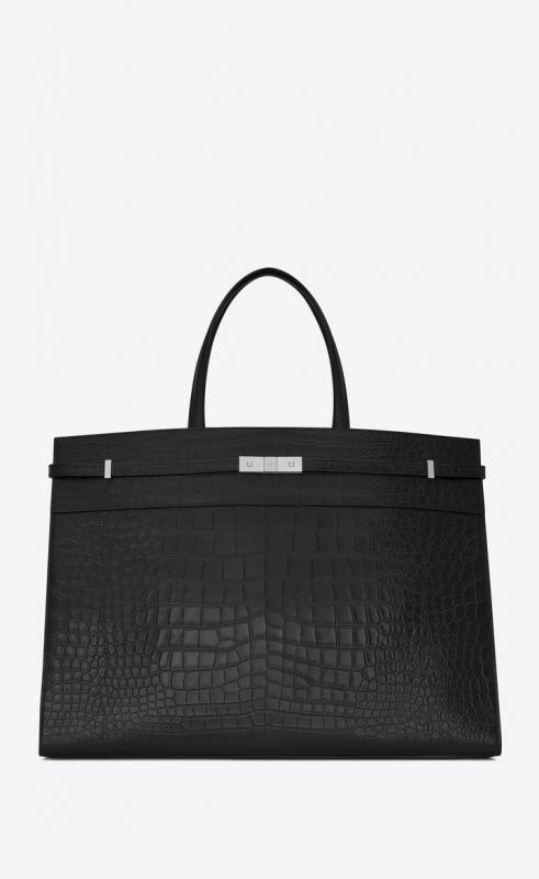 Large MANHATTAN shopping bag in mat crocodile-embossed leather (554039DZE0E1000)