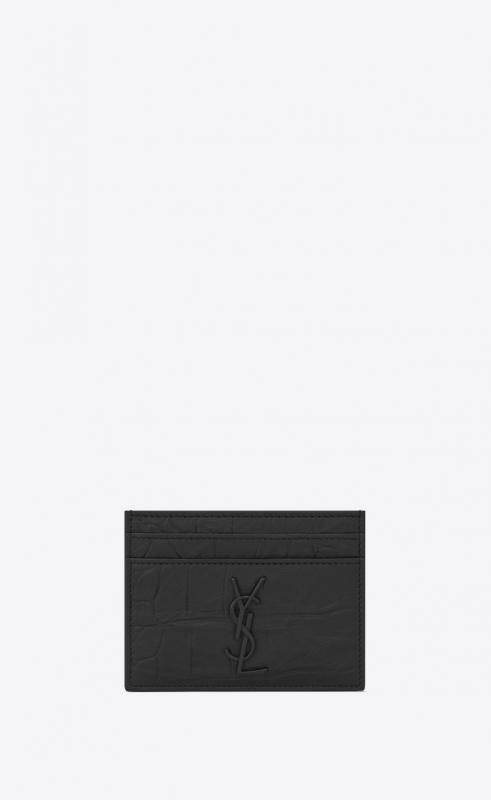 monogram card case in crocodile embossed leather (485631C9H0U1000)