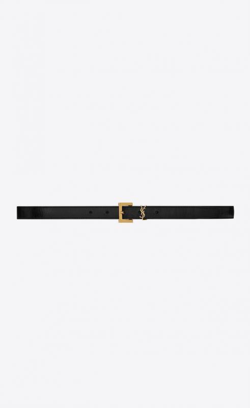 narrow lock belt in lacquered python (619778EML0W1000)