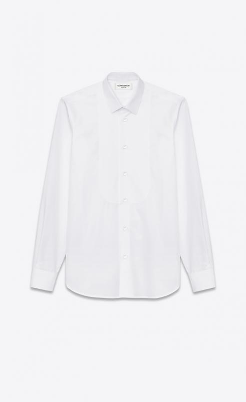 pique plastron yves collar shirt in white cotton poplin (504104Y217W9000)
